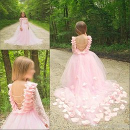 Yellow Lace Gown Girls Australia - Fantastic Backless Girls Pageant Gowns Long Sleeves Tulle Princess Festival Party Dresses Pink Flower Girls Lace Dresses For Wedding 205