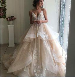 Hand model designing online shopping - 2019 New design Vintage Wedding Dress champagne color ball gonw Spring Bridal Gowns high quality Vestido De Noiva