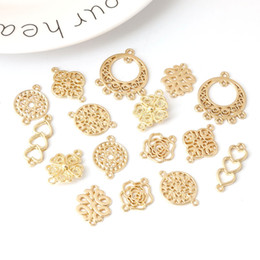 Multi Connectors Australia - 10pcs Gold Color Hollow Drop Water Heart Bow Flower Multi hole Pendant Connector diy earring wholesale jewelry findings supplies