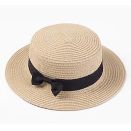 62d8e646a7f0b Sombrero del sombrero del boater femenino Sombreros femeninos de verano  para niños Playa Sol Marca Casual Señora Bowknot Paja plana Fedora Mujer  Niño Gorra ...