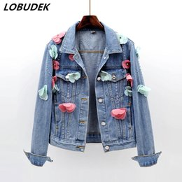 Long Ladies Denim Jacket Australia - 2019 Lady Short Jeans Jacket Flowers Appliques Beading Long Sleeve Denim Coat Spring Autumn Korean Style Fashion Slim Denim Outerwear