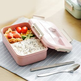 Green Plastic Straws Australia - Japanese Style Plastic Wheat Straw Bento Lunchbox Portable Kids School Student Lunch Box Microwave Picnic Camping Food Container C18112301