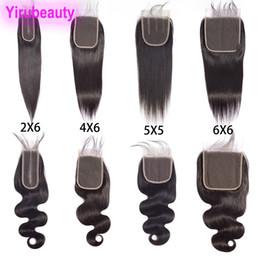 Cabello humano brasileño Recto cabello virgen 2X6 Cierre de encaje con cabello de bebé 4X6 Cierre 5X5 Seis por seis Cierre de encaje Cuerpo recto onda 8-20 en venta