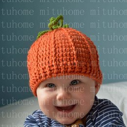 newborn pumpkin hat UK - Halloween Christmas Gift Newborn Baby Winter Hat Knit Crochet Baby Girl Cap For Children Kid Cotton Warm Cap Cute Warm Pumpkin
