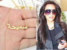 Gold name pendant custom online shopping - Custom Gold Arabic Name Necklace personalized Name Necklace Handmade Sterling Silver Arabic Jewelry christmas Gift Y19061703