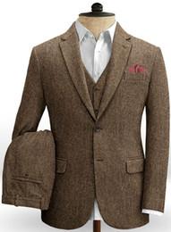 Back slimming vest online shopping - Dark Brown Wedding Tuxedos Men Suits Harringbone Tweed Groom Outfits Best Man Suit Men s Blazer Suits Custom Made Jacket Pants Vest