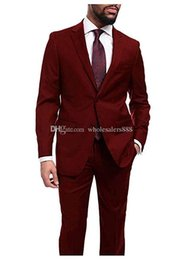 dark red tuxedos Australia - Custom Made Groomsmen Dark Red Groom Tuxedos Notch Lapel Men Suits Wedding Best Man Bridegroom Blazer (Jacket + Pants + Tie) L270