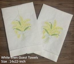 $enCountryForm.capitalKeyWord Australia - Set of 12 Fashion White Linen Hemstitched Tea Towel Cloth Guest Hand Dish Kitchen Bathroom Towels 14x22-inch embroidery Floral