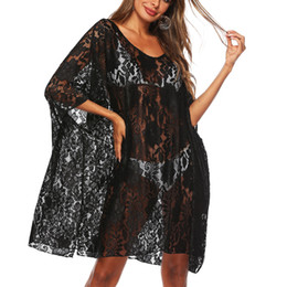 see swimsuits UK - Womens Sexy Floral Sheer Lace Bikini Cover up Summer Beach Dress See Though Beachwear Swimsuit Bikini Bathing Suit