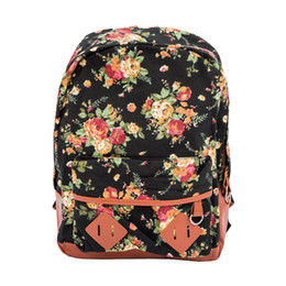 a32b958fa2b1 CATS Women Girl Lady Canvas Rucksack Vintage Flower School Book Bag Backpack  Satchel - Black