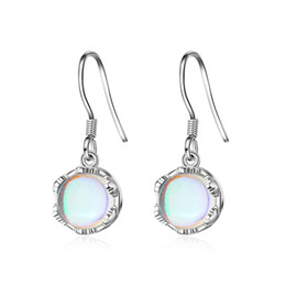 Wholesale EH373 Luckyshine Classic Dazzling Mystic Pink Silver Dangle Earrings for Wedding Party Moonstone leaves beautiful gift