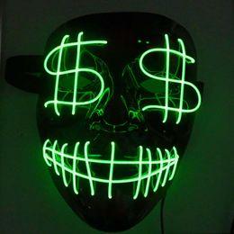 $enCountryForm.capitalKeyWord Australia - Halloween Christmas Led Luminous Mask Dollar Grimace Bloody EL Wire Party Mask Club Bar DJ Glowing Full Face Masks Led Mask