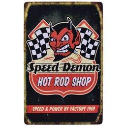 Hot rod shop speed 20x30cm gargoyl quería acdc gasolina whisky Route 66 emu poster para bar pub decoración de la pared pintura metal vintage cartel de chapa