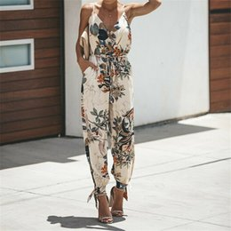 bodysuit for women wholesale UK - Women Summer Holiday Casual Sleeveless Jumpsuits Fashion Ladies Boho Floral Bodysuit Loose Long Pant Trousers Overalls for Women