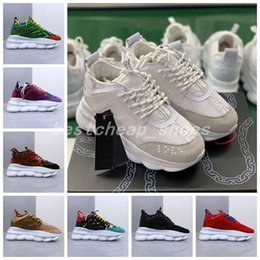 Mens gold link flat chain online shopping - Chain Reaction Sneaker Trainers Mens Womens Sneaker Light Weight Chain Linked Rubber Sole Shoe Designer Fashion Shoes Trainers Sneakers