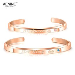 $enCountryForm.capitalKeyWord Australia - AENINE Her King His Queen Infinity Love Couple Stainless Steel Open Bangle Bracelet Fashion Lover's CZ Crown Bracelet AOGH931R
