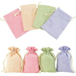Earrings Bags Australia - Cotton Linen Jewelry Storage Bags Solid Color Gift Bag Drawstring Pouch Sack for Travel Sundries Earrings Organizer 1 Piece