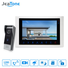 "wired door doorbell Australia - JeaTone 10"" wired Door Phone home Intercom Video doorbell monitor Intercom With 1 Camera 1200TVL High Resolution"