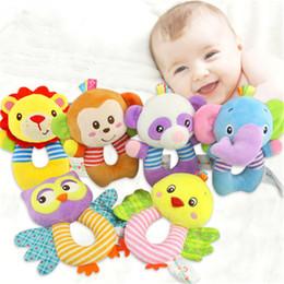 $enCountryForm.capitalKeyWord Australia - Newborns Infant Baby toy kids gift Elephant Lion Bear Animal Shaped Cartoon Hand Bell Ring Rattles Kid Plush Soft Toy K0358