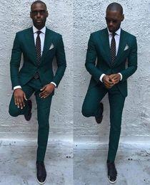 $enCountryForm.capitalKeyWord Australia - New Fashionable Groom Tuxedos Groomsmen Dark Green Peak Lapel Best Man Suit Wedding Men's Blazer Suits (Jacket+Pants+Tie) 1283