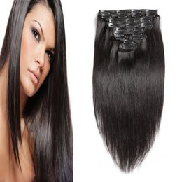 """Clip Human Hair Extensions Remy 24 Australia - 10""""-24"""" Clip In Human Hair Extensions Straight 100g 100% Remy hair Machine Made 7pcs Double Drawn Human Hair In Clips"""