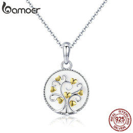 Sterling Tree Pendant NZ - Bamoer Real 925 Sterling Silver Tree Of Life Pendant Necklaces Women Gold Heart Tree Necklace Sterling Silver Jewelry Scn296 Y19050901