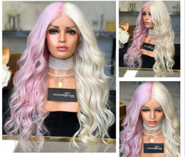 Rainbow wigs long haiR online shopping - Rainbow Colorful Long Wavy Wig Cosplay Party Women Half Pink Half Blonde Heat Resistant Synthetic Hair Wig