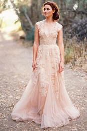 $enCountryForm.capitalKeyWord Australia - 2019 Vintage Blush Lace Beach Garden Wedding Dresses Sexy Deep V neck Cap Sleeve Layered Lace Long Bridal Gowns
