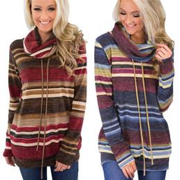 c837ed3031d Women Striped Boho Hoodie Heaps Collar Long Sleeve Pullover Sweatshirt  Jumper drawstring T-Shirt Tops home clothing Blouse AAA1718