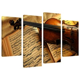 China 4 Pieces Canvas Painting Violin Instrument Wall Picture Print on Canvas Unframed Wall Art for Modern Home Living Room Decor supplier violins oil canvas suppliers