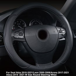 steering covers Canada - Car Steering Wheel Cover For Seat Ibiza 2010 -2021 Leon 2000-2008 Arona 2017 -2021 Ateca 2014 M Size Round Steering Wheel