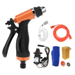 gun water pipes NZ - 60W 12V High Pressure Cleaning Pump Car Water Gun Washing Machine Device with Cigarette Lighter Water Pipe Sponge Towel
