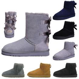 $enCountryForm.capitalKeyWord Australia - WGG Women boots Short Mini Australia Knee Tall Winter Snow Boots Designer Bailey Bow Ankle Bowtie Black Grey chestnut red size 5-10