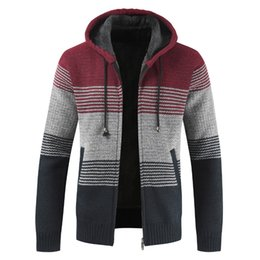 cardigan zipper thick sweaters men UK - Oufisun Sweater Coat Men 2019 Winter Thick Warm Hooded Cardigan Jumpers Men Striped Cashmere Wool Liner Zipper Fleece Coats