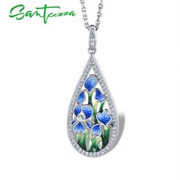 necklaces pendants Australia - Santuzza Silver Flower Pendant For Women 925 Sterling Silver Handmade Enamel Blue Petal Pendant Fit For Necklace Fashion Jewelry J190711