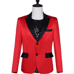 Punk Style Suit NZ - singers korean blazer men red suits designs jacket mens stage costumes clothes dance star style dress punk rock masculino homme
