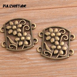 deep alloys NZ - PULCHRITUDE 6pcs 28*29mm Retro Two Color Zinc Alloy Hollow Flower Pendants Connectors Linker For DIY Charm Jewelry Accessorie