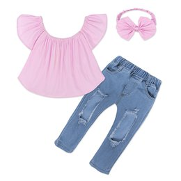 short hair styles kids 2019 - Kids Girl Three-piec Sets Baby Denim Suit Girl One Shoulder Coat Ruffle Sleeve Big Bow Hair Accessories Shredded Jeans E