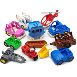 toys boats NZ - 12PCS Trailer Car Motorcycle Boat Big Size Building Blocks Collocation Vehicle Accessory Kid DIY Toys Compatible Bricks Set Gift AJILE