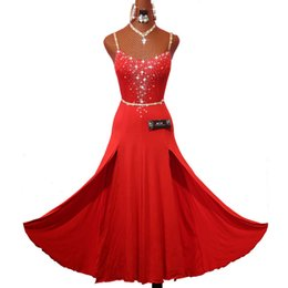 practice dance dress NZ - Sparkly Rhinestones Red Latin Dance Dress with Accessories for Women Stage Performance Cha Cha Rumba Samba Practice Clothes Lady