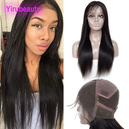 unprocessed hair wigs Australia - Brazilian Unprocessed Human Hair 9A Full Lace Wigs 210% Density 150% Straight Virgin Hair Lace Wigs With Baby Hair Pre Plucked Natural Color