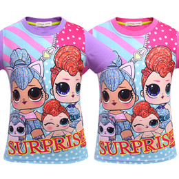 kids cartoons t shirts wholesale Australia - T shirt 3D color Printing New Cartoon Girls Short sleeve T-shirt Summer Breathable children's wear Kids Children Outwear Top Clothing 3416