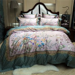 birds bedding queen Australia - Pastoral luxury floral bird European Chinese style 100s cotton bedding sets 4pcs Premium Duvet Cover set sheet Fitted sheet KingQueensize
