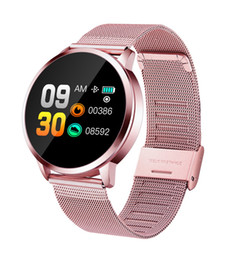 Wholesale smart q8 for sale - Group buy New Q8 OLED Bluetooth Smart Watch Stainless Steel Waterproof Wearable Device Smartwatch Wristwatch Men Women Fitness Tracker