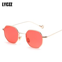 a47fdfdf87 LYCZZ small square sunglasses Women men gold thin metal frame blue green  tinted red sun glasses for Ladies 2018 oculos de sol
