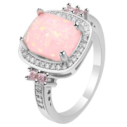 3977df864 whole saleHainon Austrian Crystal Pink Opal Ring Fashion Jewelry Wholesale  New Luxury Women Gift Silver Color Large Square Fire Opal Rings