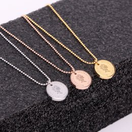 gold pendant korea Australia - X7-302 Japan and South Korea simple rose gold round clavicle chain retro queen avatar necklace popular necklace
