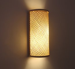 $enCountryForm.capitalKeyWord Australia - Japanese Wall Lamp Hotel Bedroom Bedside Lamp New Chinese Ancient Residential Clubhouse Corridor Room Stairway Bamboo Woven Wall Lamp LLFA