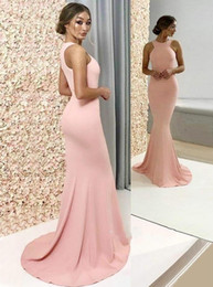 Simple evening dreSSeS deSignS online shopping - Peach Pink Mermaid Bridesmaid Dresses Simple Designed Prom Evening Gowns Cheap Vestidos Wedding Guest Wear BC2709