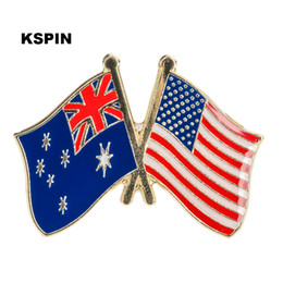 friendship gifts NZ - Australia USA Friendship Flag Metal Pin for Coat Jacket Brooch on The Collar of the Shirt Jewellry Gift XY0114
